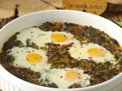 Fırında Yumurtalı Ispanak Yemeği
