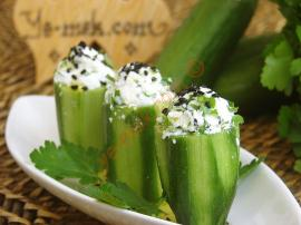 Cucumber Cups Stuffed With Cheese Recipe