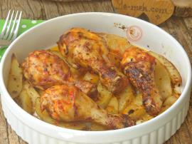 Fırında Patatesli Tavuk But Yemeği
