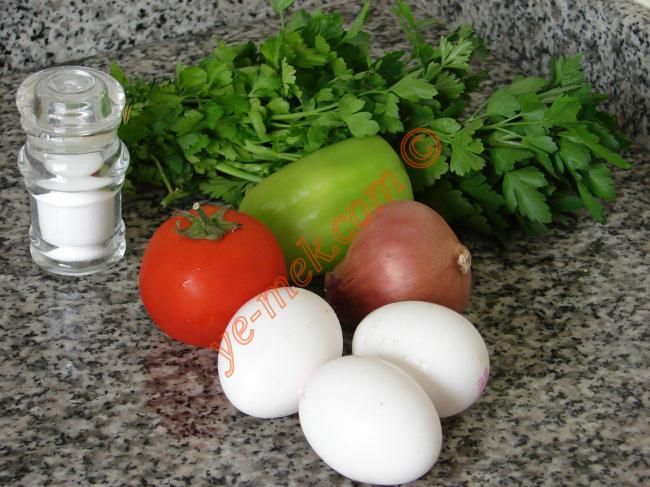 İspanyol Usulü Omlet İçin Gerekli Malzemeler :  <ul> <li>3 adet yumurta</li> <li>1 adet küçük soğan</li> <li>1 adet dolmalık biber</li> <li>1 adet domates</li> <li>1 tutam maydanoz</li> <li>1 yemek kaşığı tereyağı</li> <li>Tuz</li> </ul>