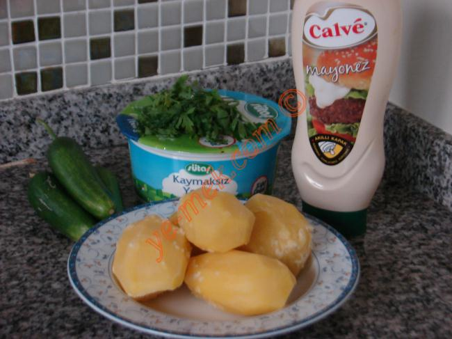 Yoğurtlu Patates Salatası İçin Gerekli Malzemeler :  <ul> <li>4 adet orta boy patates</li> <li>2 tutam maydanoz</li> <li>3 tutam dereotu</li> <li>3 adet orta boy salatalık</li> <li>6 yemek kaşığı dolusu yoğurt</li> <li>3 yemek kaşığı mayonez</li> <li>Tuz</li>  <li><strong>Üzeri İçin</strong></li>  <li>Dereotu</li> </ul>