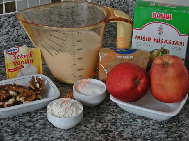 Elmalı Muhallebi Kupları Malzemeleri