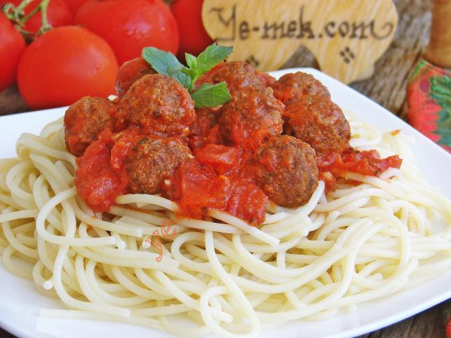 Spaghetti with Lamb Meatballs in Tomato Sauce Recipe