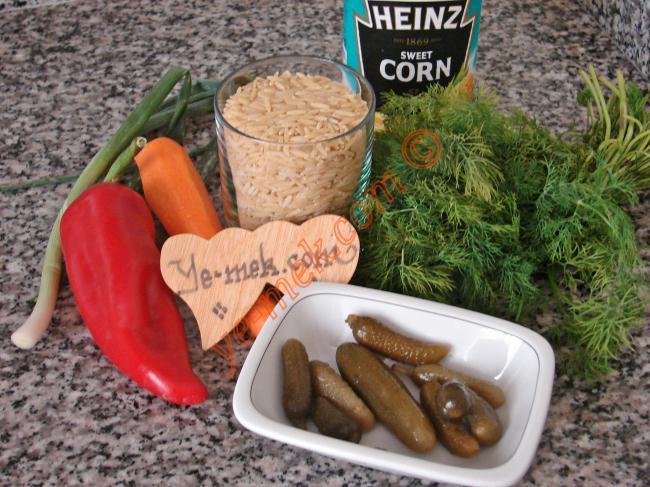 Arpa Şehriye Salatası İçin Gerekli Malzemeler :  <ul> <li>1 su bardağı arpa şehriye</li> <li>1 adet büyük boy kırmızı biber</li>         <li>1 adet havuç</li>         <li>1 adet salatalık</li>         <li>6 adet kornişon turşu</li>         <li>5 yemek kaşığı konserve mısır</li> <li>3 sap taze soğan</li>  <li>6 tutam dereotu</li>  <li>1/2 çay bardağı zeytinyağı</li>         <li>1/2 limon suyu</li>         <li>Tuz</li> </ul>