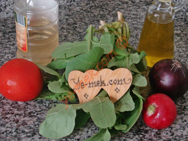 Roka Salatası İçin Gerekli Malzemeler :  <ul> <li>1 demet roka</li>         <li>1 adet küçük boy turp</li>    <li>1 adet kırmızı soğan</li>         <li>1 adet küçük boy domates</li>  <li>5 yemek kaşığı sızma zeytinyağı</li>         <li>2 yemek kaşığı elma sirkesi</li>  <li>Tuz</li> </ul>