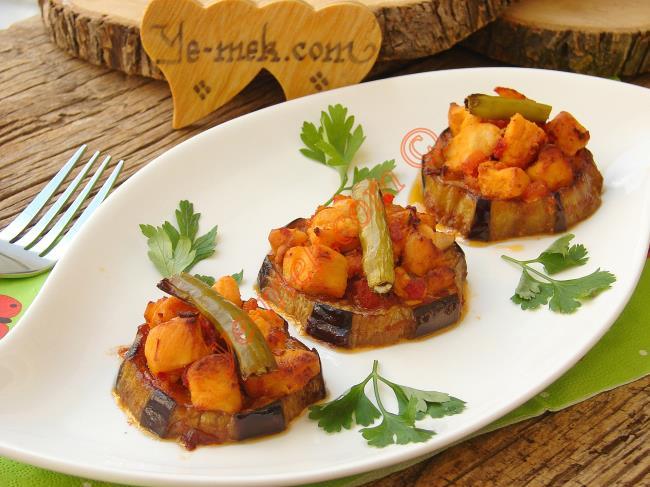 Fırında Mantarlı Patlıcan