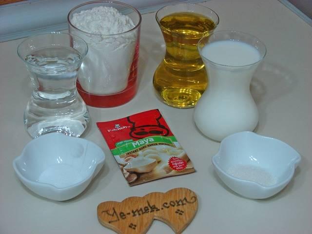 Bazlama İçin Gerekli Malzemeler :  <ul> <li>1 büyük çay bardağı ılık süt</li> <li>1 büyük çay bardağı ılık su</li> <li>1 büyük çay bardağı zeytinyağı</li> <li>1 yemek kaşığı toz şeker</li>         <li>1 paket instant kuru maya</li> <li>1 tatlı kaşığı tuz</li> <li>4-4,5 su bardağı un</li> </ul>