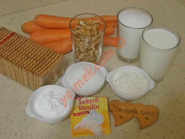 Havuç Tatlısı İçin Gerekli Malzemeler :  <ul>         <li>4 adet orta boy havuç</li> <li>1 su bardağı toz şeker</li> <li>1 paket sade petibör bisküvi</li>         <li>1 su bardağı ceviz</li> <li><strong>Muhallebisi İçin:</strong></li>         <li>4 su bardağı süt</li>         <li>5 yemek kaşığı toz şeker</li>         <li>2 yemek kaşığı dolusu un</li>         <li>1,5 yemek kaşığı nişasta</li>         <li>1 paket vanilya</li>         <li><strong>Üzeri İçin:</strong></li>         <li>Hindistan cevizi</li>  </ul>