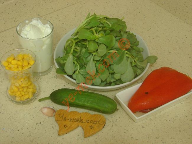 Kolay Yoğurtlu Semizotu Salatası İçin Gerekli Malzemeler :  <ul> <li>1 demet semizotu</li> <li>1 adet orta boy salatalık</li>         <li>1 çay bardağı konserve mısır</li>         <li>2 adet közlenmiş kırmızı biber</li>         <li>1 diş rendelenmiş sarımsak</li>         <li>2 su bardağı yoğurt</li> <li>Tuz</li> </ul>