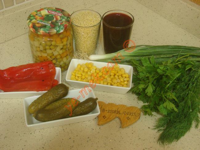 Şalgamlı Kuskus Salatası İçin Gerekli Malzemeler :  <ul> <li>1 su bardağı kuskus</li>         <li>2 su bardağı şalgam suyu</li>         <li>1 kavanoz hazır garnitür</li>         <li>5 yemek kaşığı konserve mısır</li>         <li>2 adet közlenmiş kırmızı biber</li>         <li>7 adet kornişon turşu</li>         <li>4 dal taze soğan</li>         <li>1/2 demet maydanoz</li>         <li>1/2 demet dereotu</li>         <li>Limon suyu</li>         <li>Zeytinyağı</li>         <li>Tuz</li> </ul>