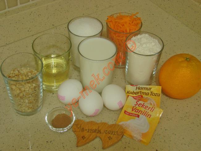 Portakallı Havuçlu Kek Malzemeleri