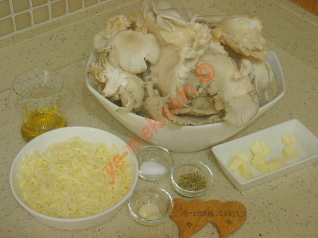 Fırında İstiridye Mantarı İçin Gerekli Malzemeler :  <ul> <li>500 gr istiridye mantarı</li>         <li>3 diş sarımsak</li>         <li>3 yemek kaşığı zeytinyağı</li>         <li>1 yemek kaşığı tereyağı</li>         <li>Rendelenmiş kaşar peyniri</li>         <li>Kekik</li>         <li>Karabiber</li>         <li>Tuz</li>  </ul>